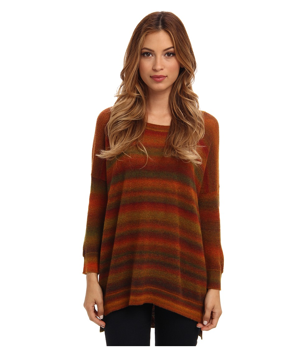 Autumn Cashmere - Mesh Space Dye Hi Lo Top (Autumn Combo) Women's Clothing