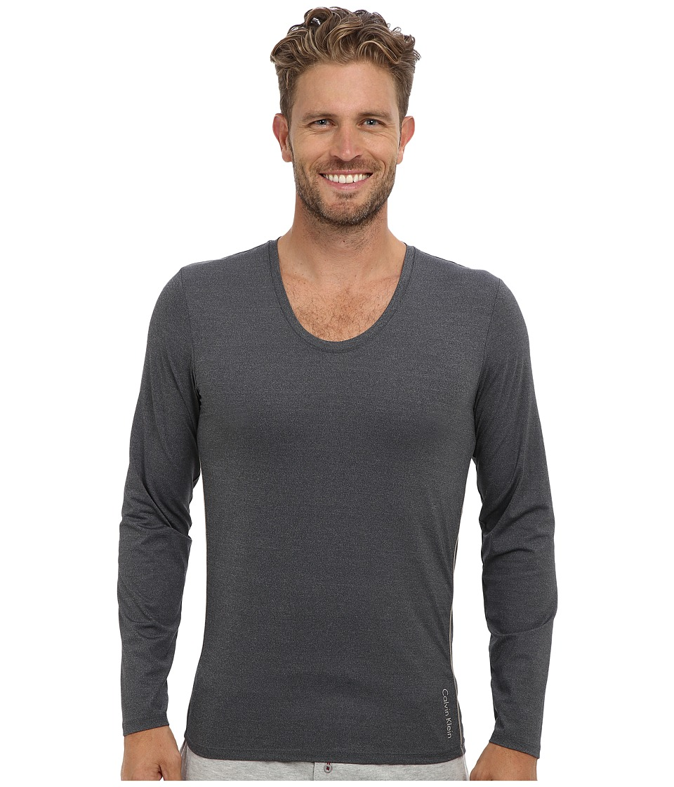Calvin Klein Underwear - ck Ease L/S Curve Neck M9681 (Charcoal Heather) Men