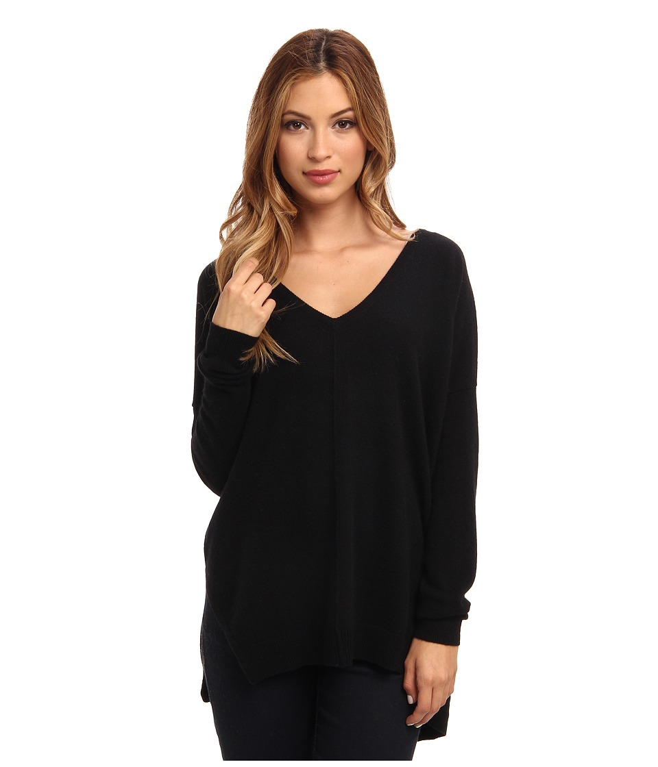 Autumn Cashmere - Hi Lo Slashed V Top (Black) Women's T Shirt