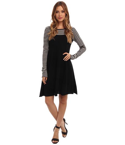 Autumn Cashmere - Stripe Boatneck Dress (Black/Milk) Women's Dress