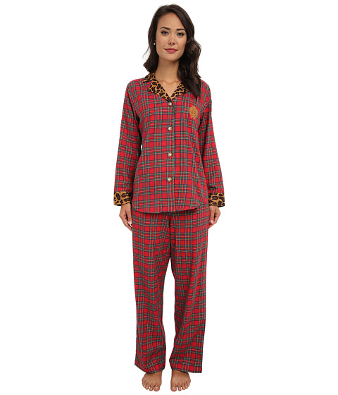 LAUREN by Ralph Lauren - Brushed Twill LS Classic Notch Collar PJ (Royal Stewart Tartan) Women's Pajama Sets