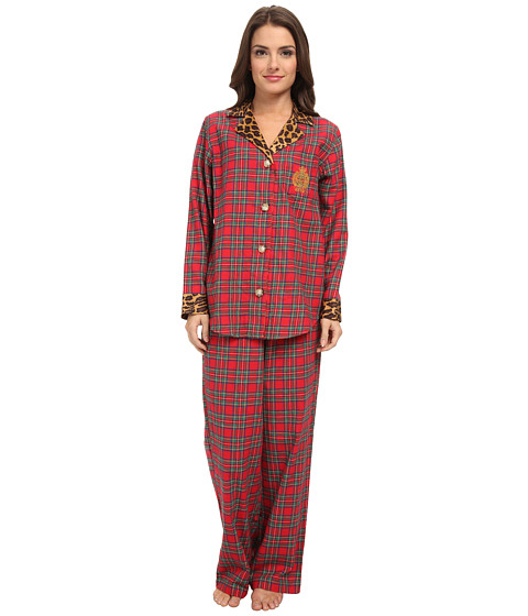 LAUREN by Ralph Lauren - Petite Brushed Twill LS Classic Notch Collar PJ (Royal Stewart Tartan) Women's Pajama Sets