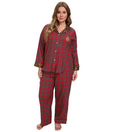 LAUREN by Ralph Lauren - Plus Size Brushed Twill LS Classic Notch Collar PJ (Royal Stewart Tartan) Women's Pajama Sets