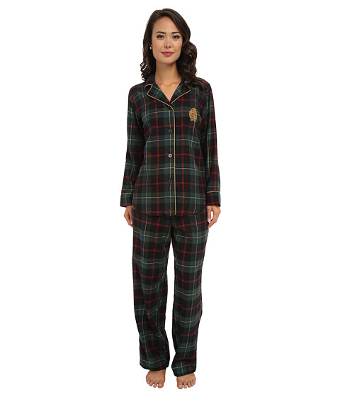 LAUREN by Ralph Lauren - Brushed Twill LS Classic Notch Collar PJ (Malcom Tartan Green) Women's Pajama Sets