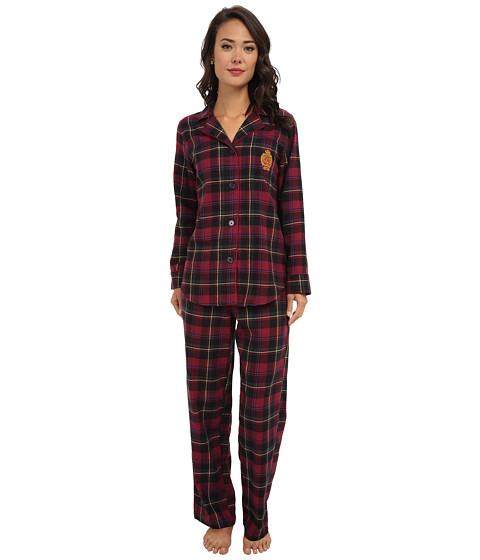 LAUREN by Ralph Lauren - Brushed Twill LS Classic Notch Collar PJ (Cambridge Plaid Winterberry) Women's Pajama Sets