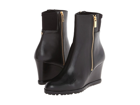 MICHAEL Michael Kors - Aileen Wedge (Black Vachetta/Sensitive Stretch) Women's Dress Zip Boots