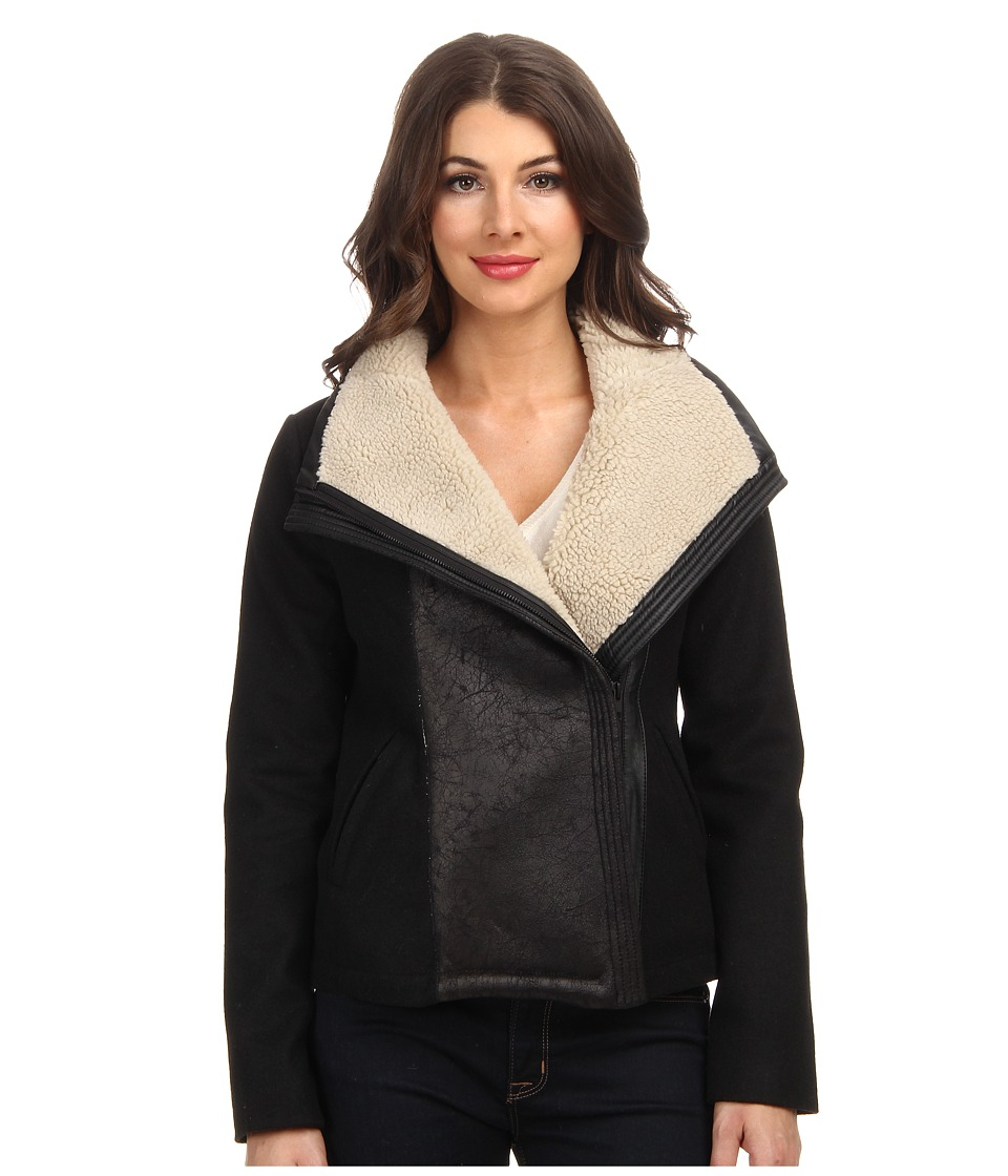 NYDJ - Faux Shearling Moto Jacket (Black) Women's Coat