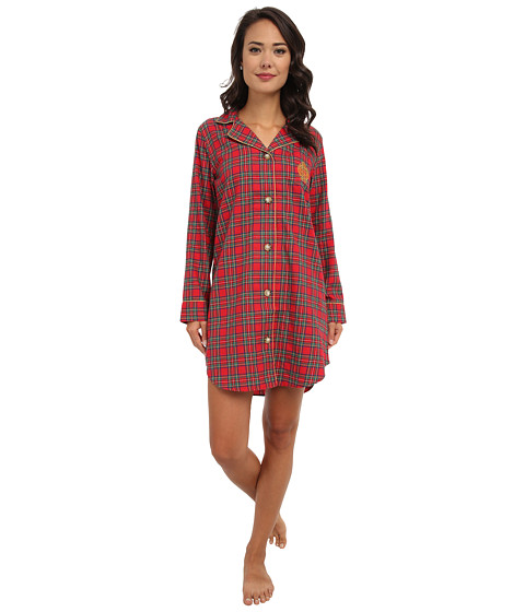 LAUREN by Ralph Lauren - Brushed Twill LS Notch Collar Sleepshirt (Royal Stewart Tartan) Women