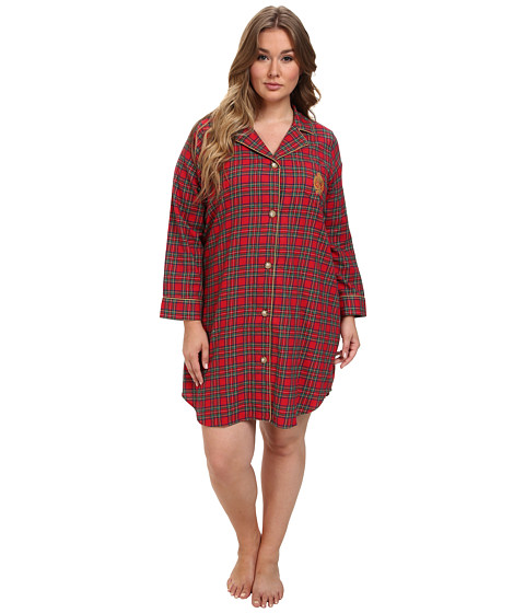 LAUREN by Ralph Lauren - Plus Size Brushed Twill LS Notch Collar Sleepshirt (Royal Stewart Tartan) Women