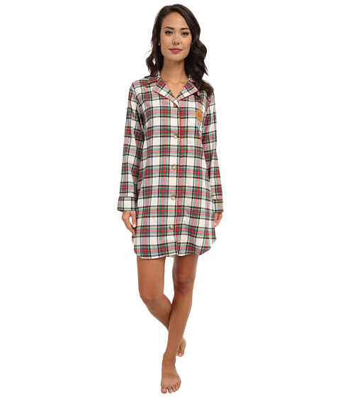 LAUREN by Ralph Lauren - Brushed Twill LS Notch Collar Sleepshirt (Dress Stewart Tartan Cream) Women