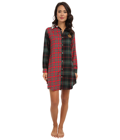 LAUREN by Ralph Lauren - Brushed Twill LS Multi Plaid Sleepshirt (Multi Plaid) Women