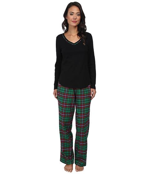 LAUREN by Ralph Lauren - Knit Top/Flannel Pant PJ Set (Black Top/Beatric Plaid Green Multi Pant) Women