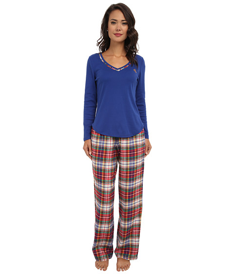 LAUREN by Ralph Lauren - Knit Top/Flannel Pant PJ Set (Earl Blue Top/Montgomery Plaid Cream Multi Pant) Women