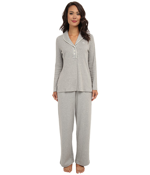 LAUREN by Ralph Lauren - Hartford Lounge PJ Set with Quilted Collar (Grey Heather) Women's Pajama Sets