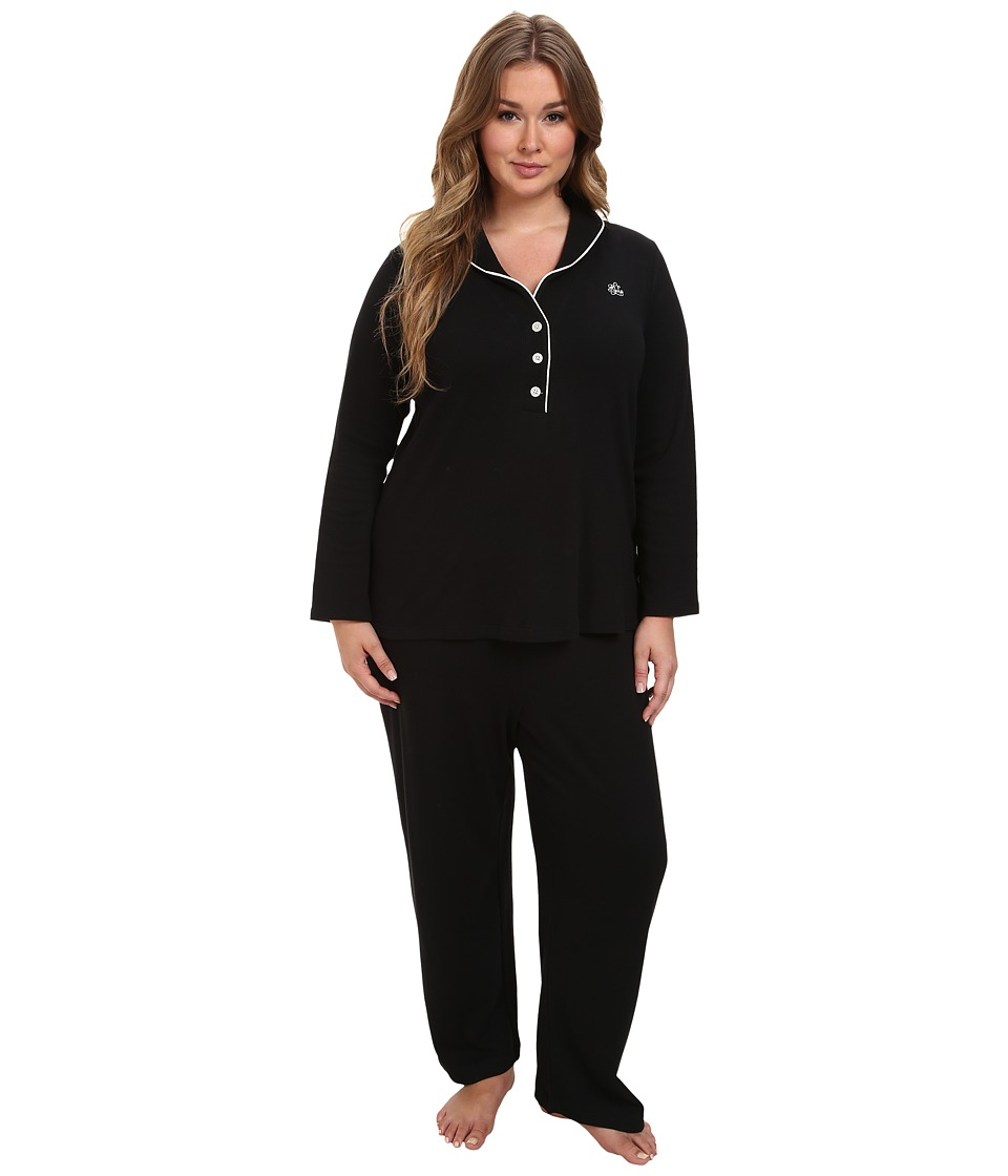 LAUREN Ralph Lauren - Plus Size Hartford Lounge PJ Set with Quilted Collar (Black) Women's Pajama Sets plus size,  plus size fashion plus size appare