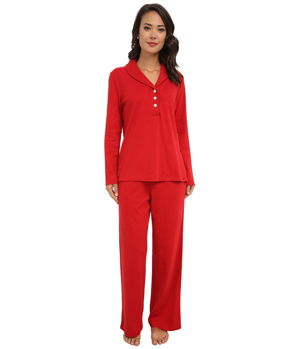 LAUREN by Ralph Lauren - Hartford Lounge PJ Set with Quilted Collar (Holiday Red) Women's Pajama Sets