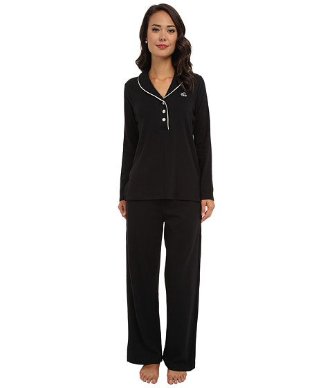 LAUREN by Ralph Lauren - Hartford Lounge PJ Set with Quilted Collar (Black) Women's Pajama Sets