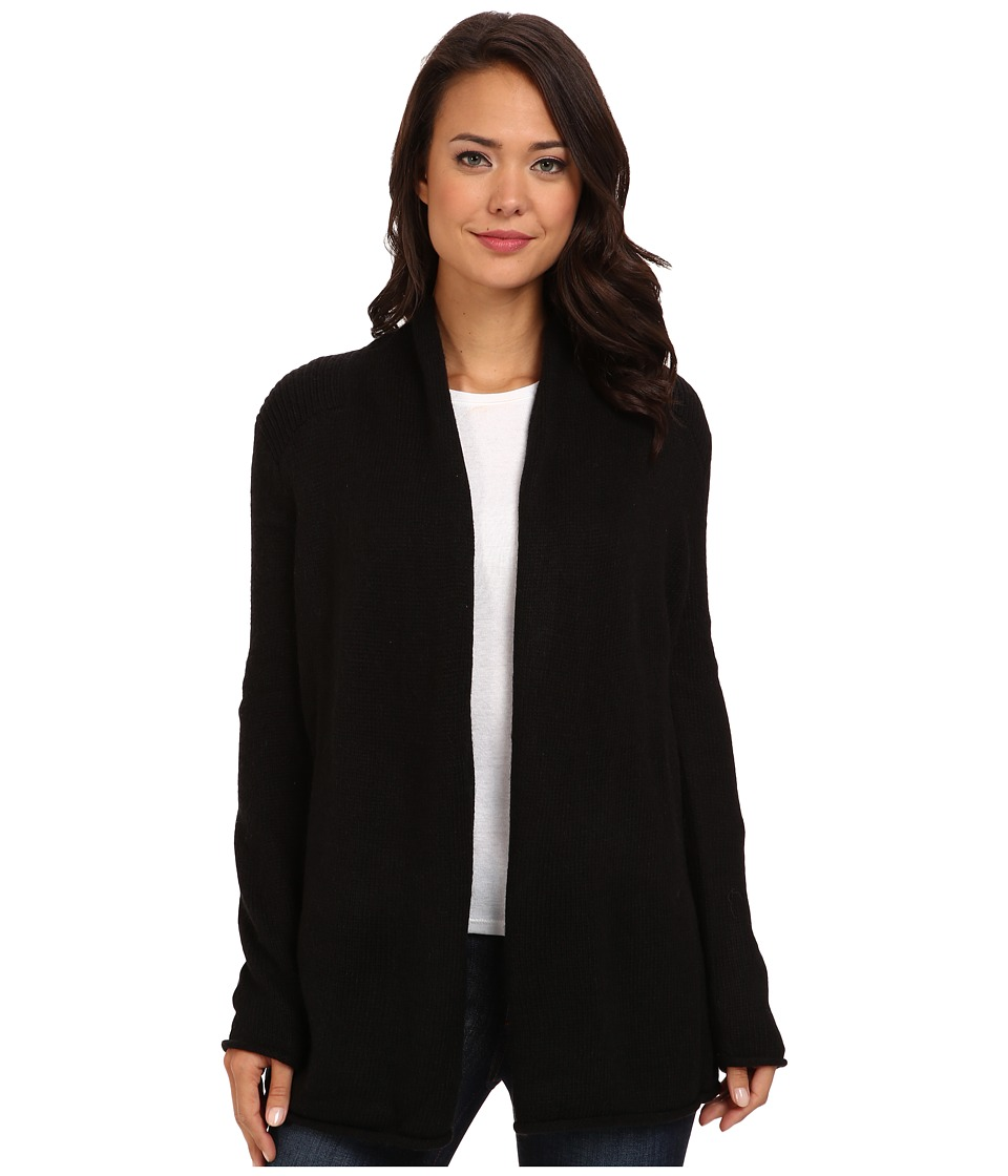 NYDJ - Drape Cardigan w/ Faux Suede (Black) Women's Sweater