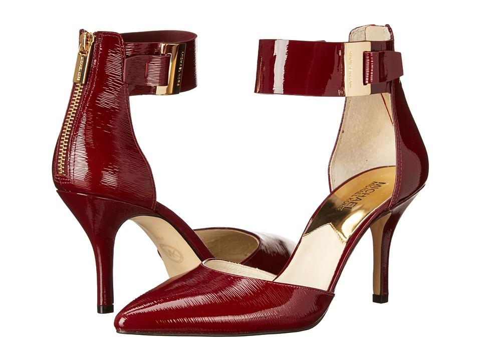 MICHAEL Michael Kors - Guiliana Mid Ankle Strap (Claret Patent Saffiano) High Heels
