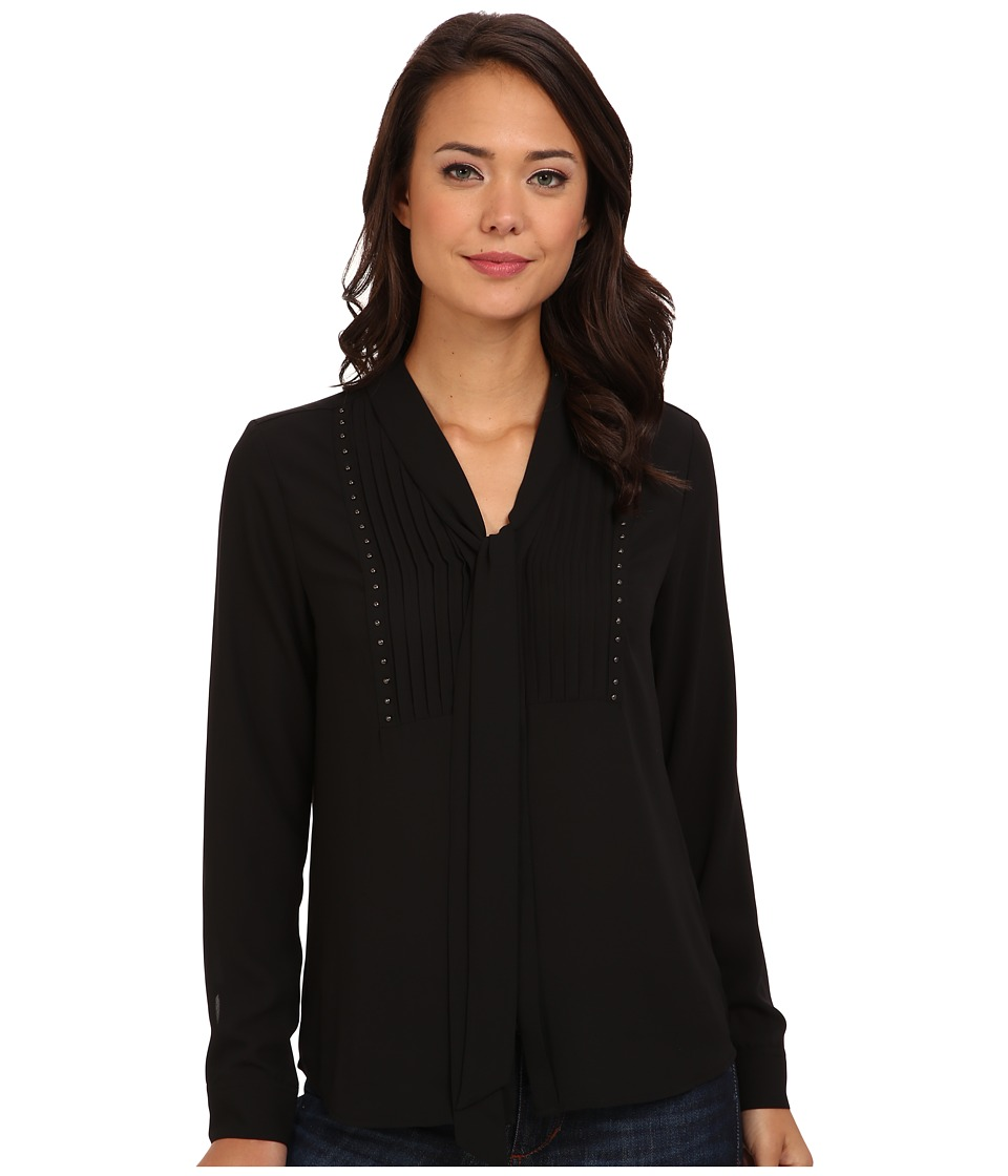 NYDJ - Studded Tie Front Blouse (Black) Women
