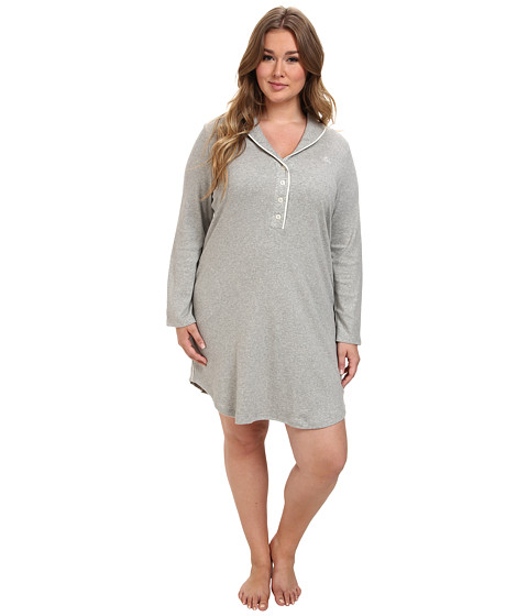 LAUREN by Ralph Lauren - Plus Size Hartford Lounge Lounger with Quilted Collar (Grey Heather) Women's Pajama