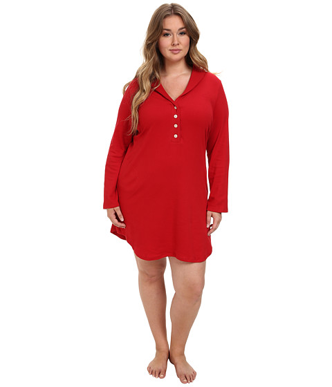LAUREN by Ralph Lauren - Plus Size Hartford Lounge Lounger with Quilted Collar (Holiday Red) Women's Pajama