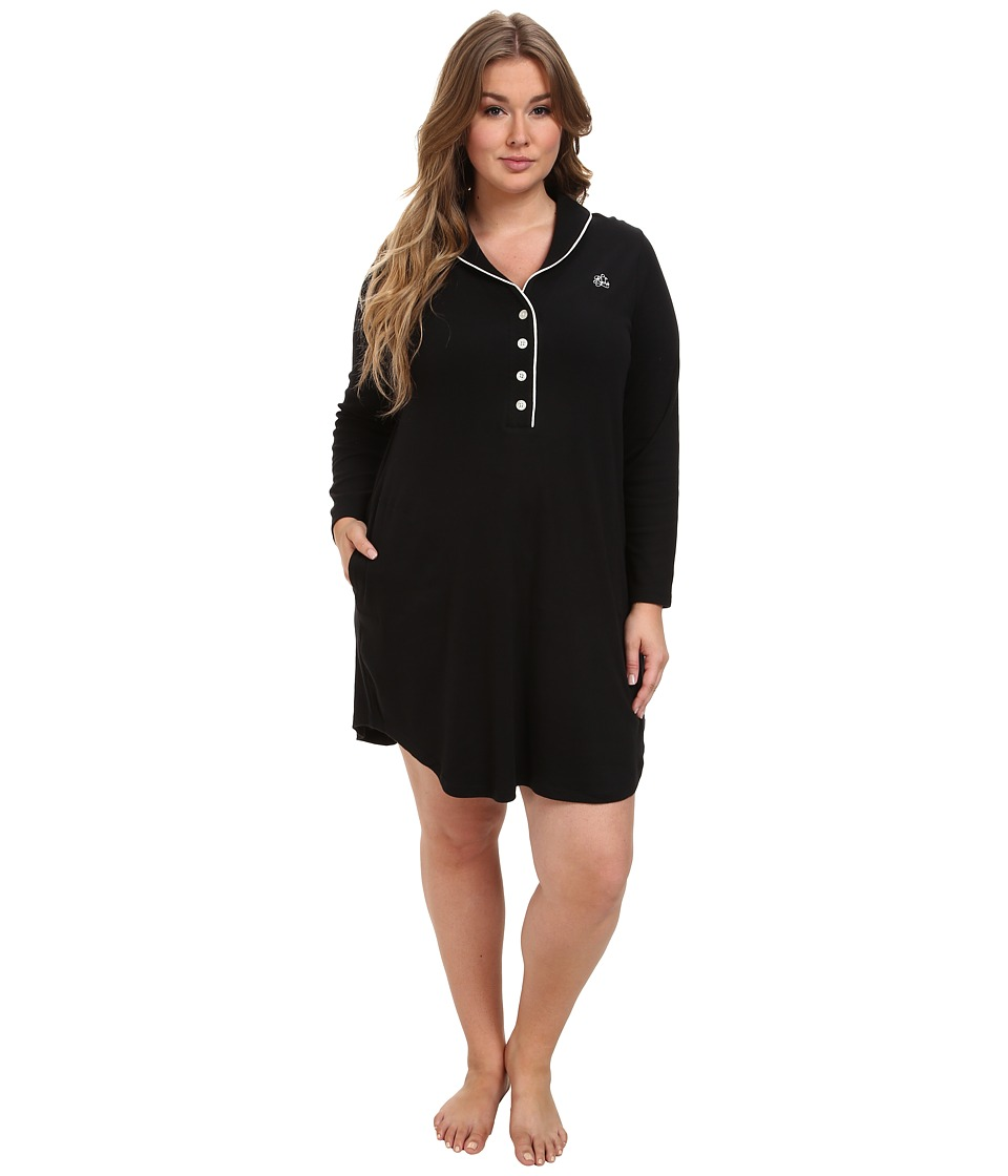 LAUREN Ralph Lauren - Plus Size Hartford Lounge Lounger with Quilted Collar (Black) Women's Pajama plus size,  plus size fashion plus size appare