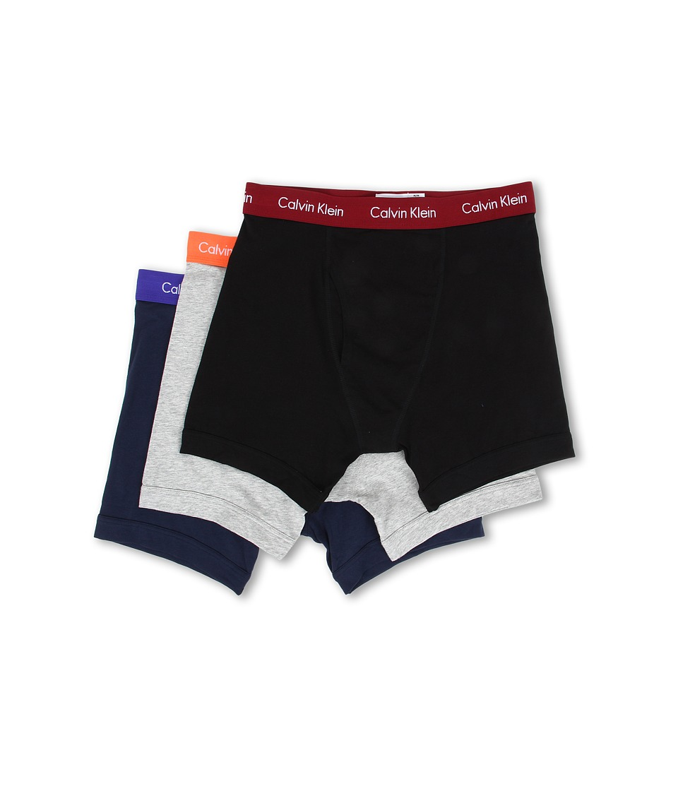 Calvin Klein Underwear - Cotton Stretch Boxer Brief 3-Pack NU2666 (Black/Dylan Red/Heather Grey/Unexpected Orange/Blue Shadow/Blue) Men's Underwear