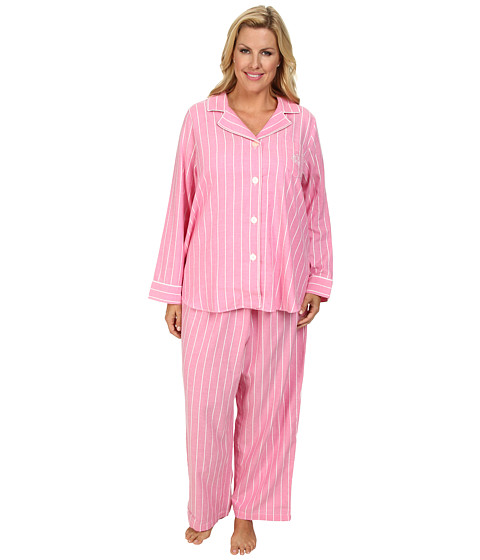 LAUREN by Ralph Lauren - Plus Size Brushed Twill LS Notch Collar PJ (Kempton Stripe Rose Pink) Women's Pajama Sets