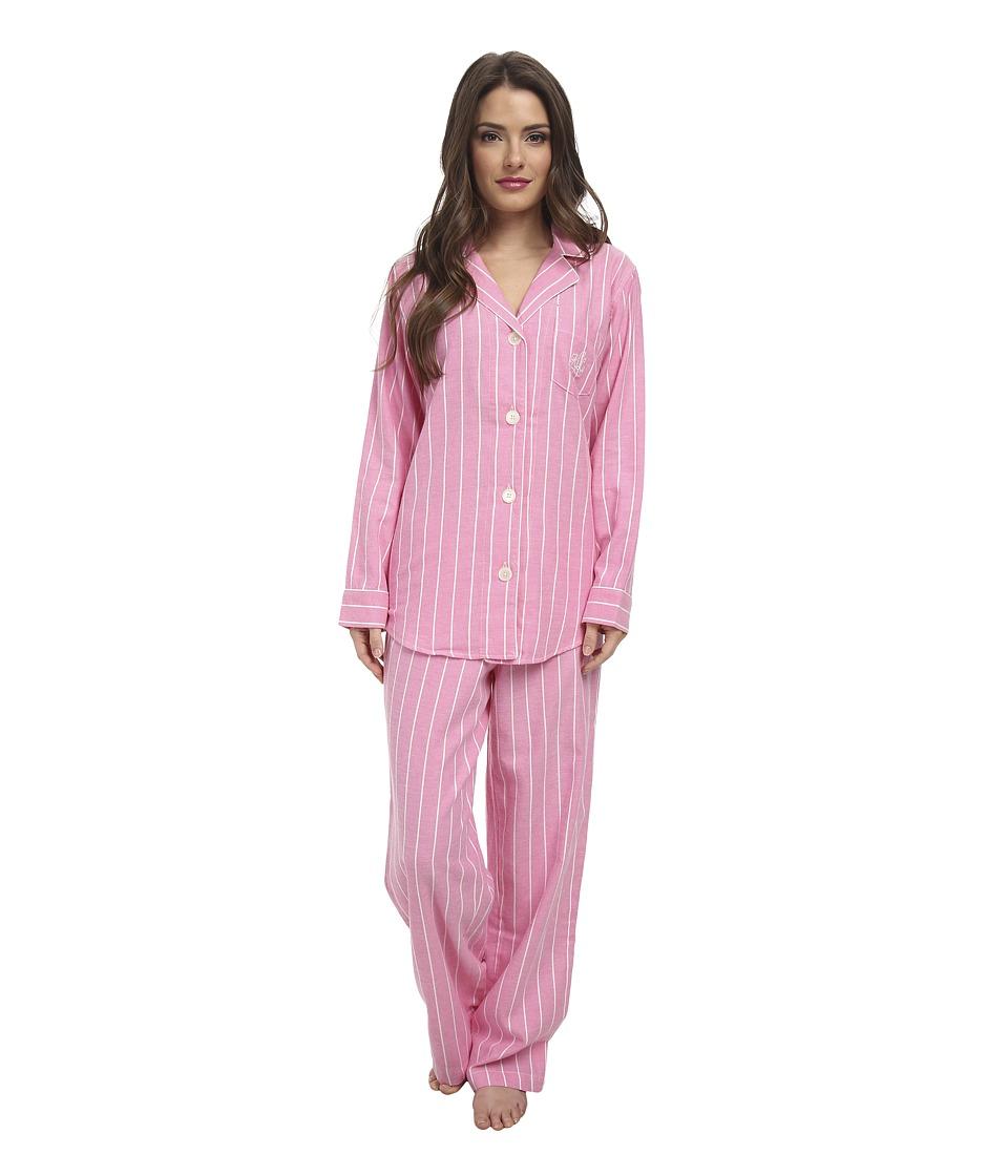 LAUREN by Ralph Lauren - Petite Brushed Twill LS Notch Collar PJ (Kempton Stripe Rose Pink) Women