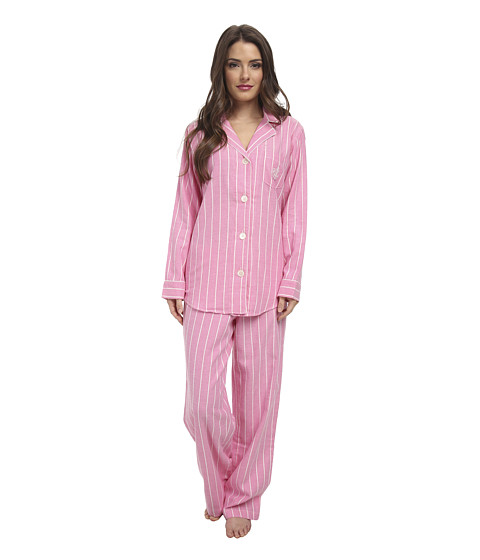 LAUREN by Ralph Lauren - Petite Brushed Twill LS Notch Collar PJ (Kempton Stripe Rose Pink) Women