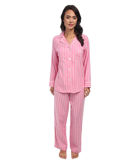 LAUREN by Ralph Lauren - Brushed Twill LS Notch Collar PJ (Kempton Stripe Rose Pink) Women's Pajama Sets