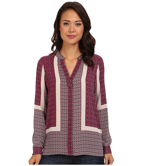NYDJ - Scarf Print Button Front Blouse (Boysenberry) Women's Blouse