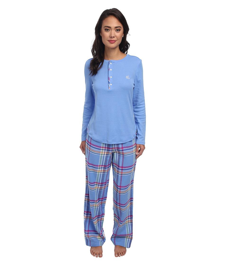 LAUREN by Ralph Lauren - Knit Top/Flannel Pant PJ Set (Derby Blue Top with Aintree Plaid Pant) Women's Pajama Sets