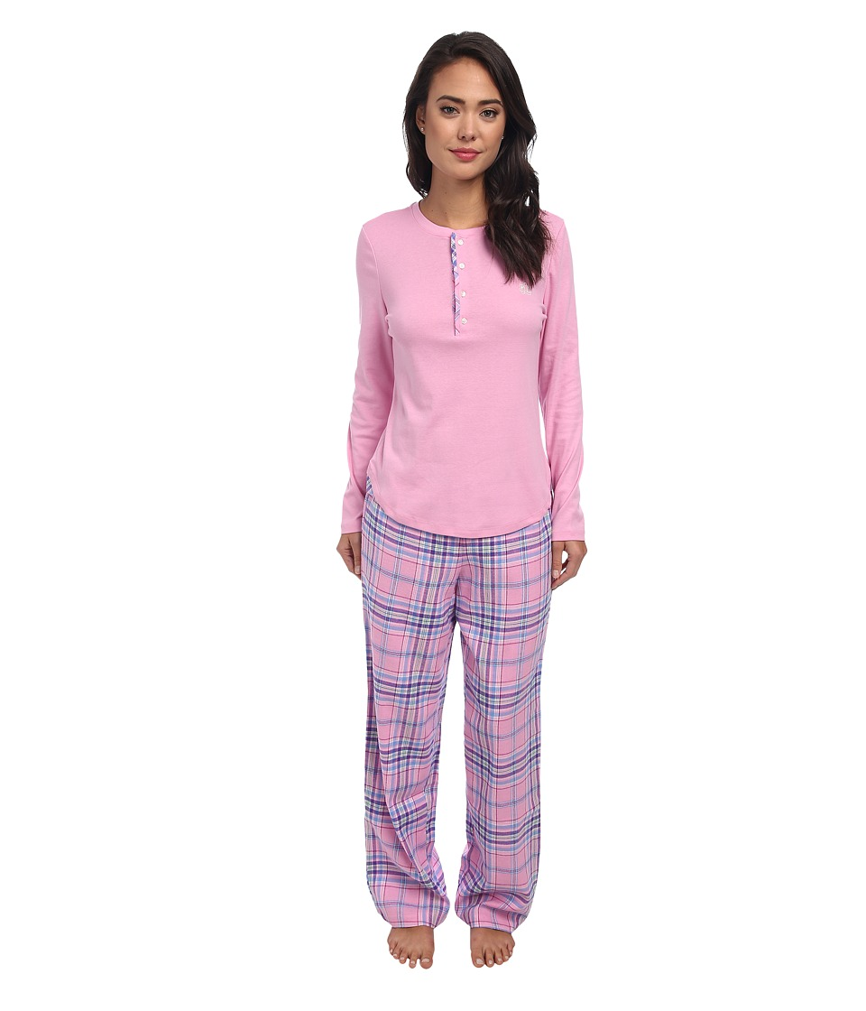 LAUREN by Ralph Lauren - Knit Top/Flannel Pant PJ Set (Park Pink Top with Norfolk Plaid Pant) Women