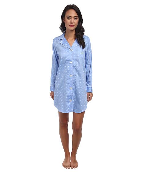 LAUREN by Ralph Lauren - Sateen Classic Notch Collar Sleepshirt (Metropolitan Dot) Women