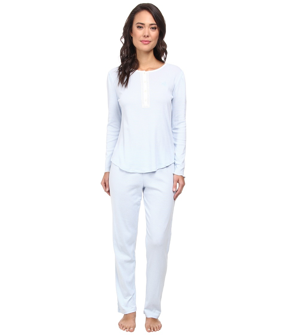 LAUREN Ralph Lauren - Lingfield Park Knits LS PJ Set (New Market Stripe Madison Blue) Women's Pajama Sets