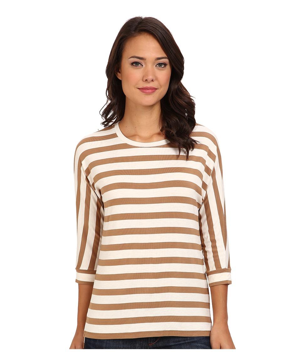 NYDJ - Dolman Sleeve Stripe Tee (Butterscotch/Heathersugar) Women's T Shirt