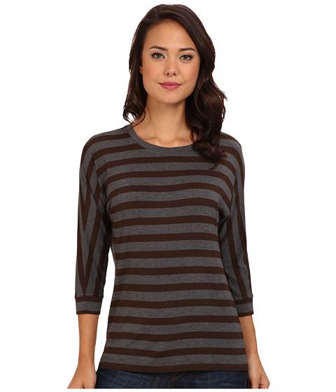 NYDJ - Dolman Sleeve Stripe Tee (Caribou/Heather Charcoal) Women