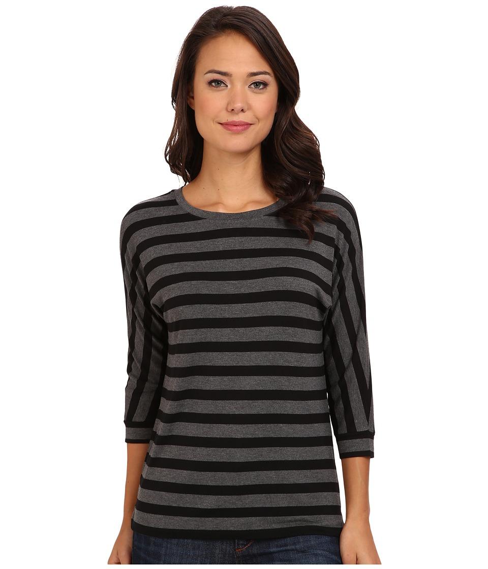 NYDJ - Dolman Sleeve Stripe Tee (Black/Heather Charcoal) Women