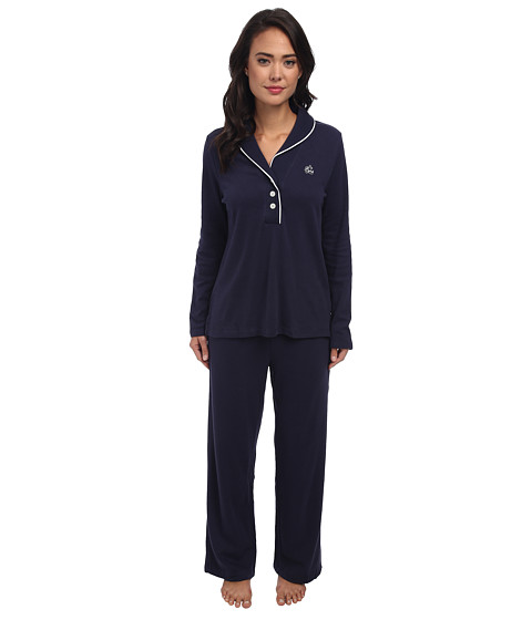 LAUREN by Ralph Lauren - Hartford Lounge PJ Set with Quilted Collar (Windsor Navy) Women's Pajama Sets