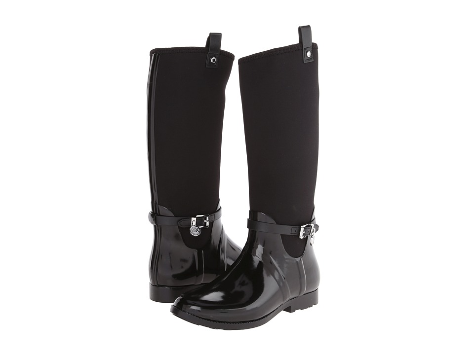 MICHAEL Michael Kors Charm Stretch Rainboot (Black Rubber/Vachetta/Neoprene) Women