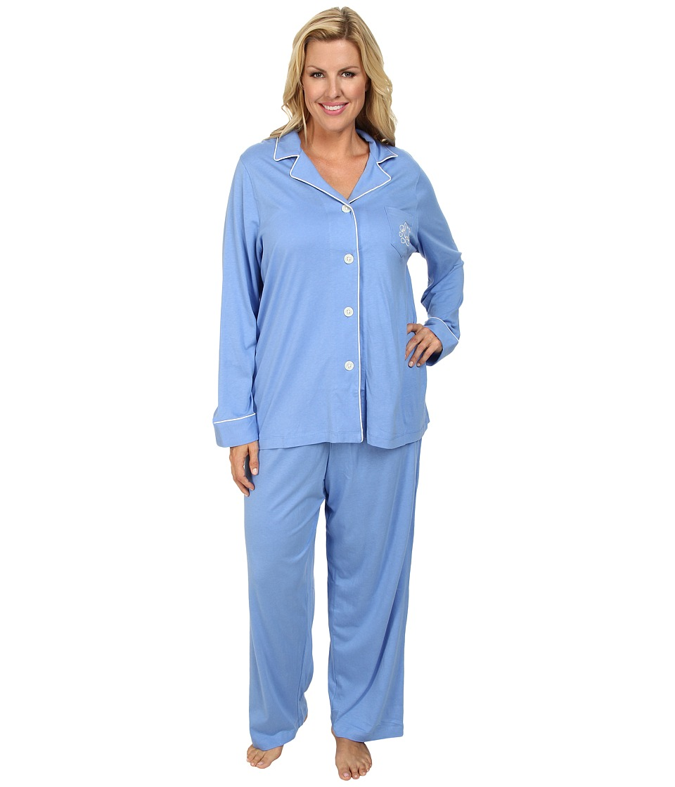 LAUREN by Ralph Lauren - Hammond Knits Pajama Set Plus Size (Medium Blue) Women's Pajama Sets