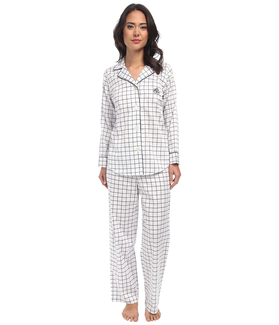 LAUREN by Ralph Lauren - Park Avenue Sateen LS Notch Collar PJ Set (Fuller Check) Women's Pajama Sets