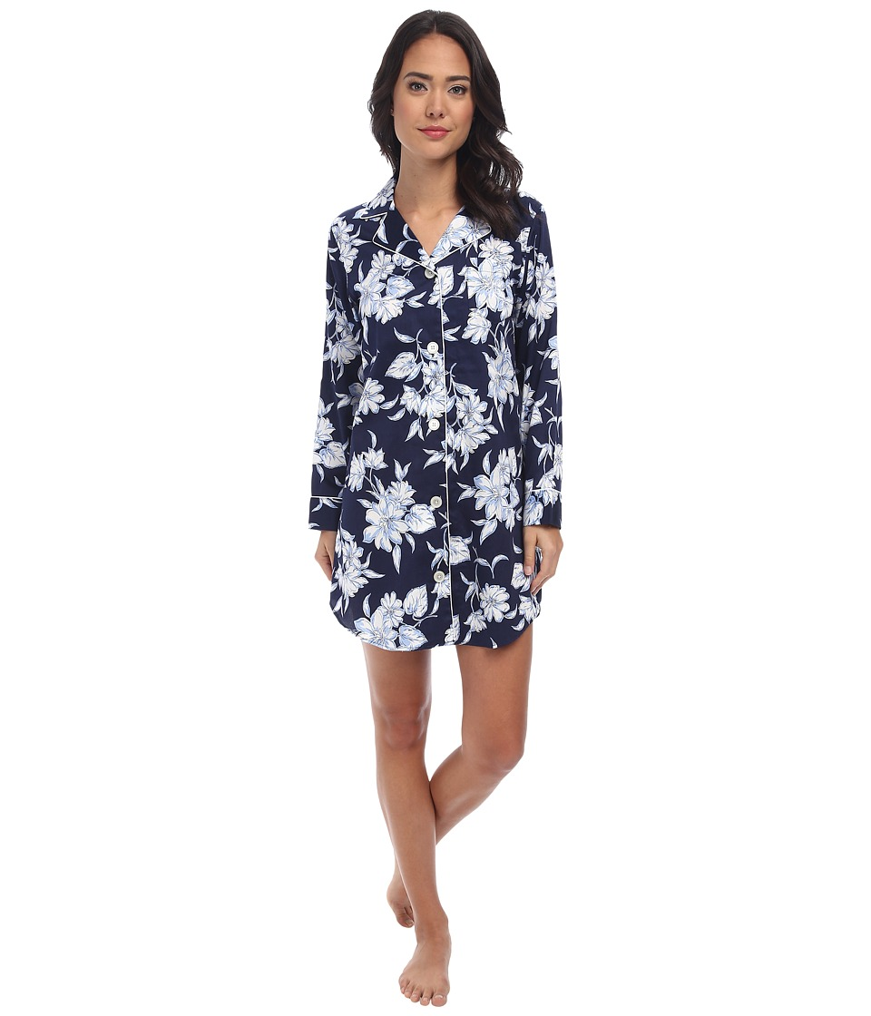 LAUREN by Ralph Lauren - Park Avenue Sateen LS Notch Collar Sleepshirt (City Floral) Women