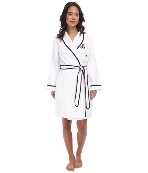 LAUREN by Ralph Lauren - Terry Lined Short Shawl Collar Robe (White with Windsor Navy Binding) Women's Robe