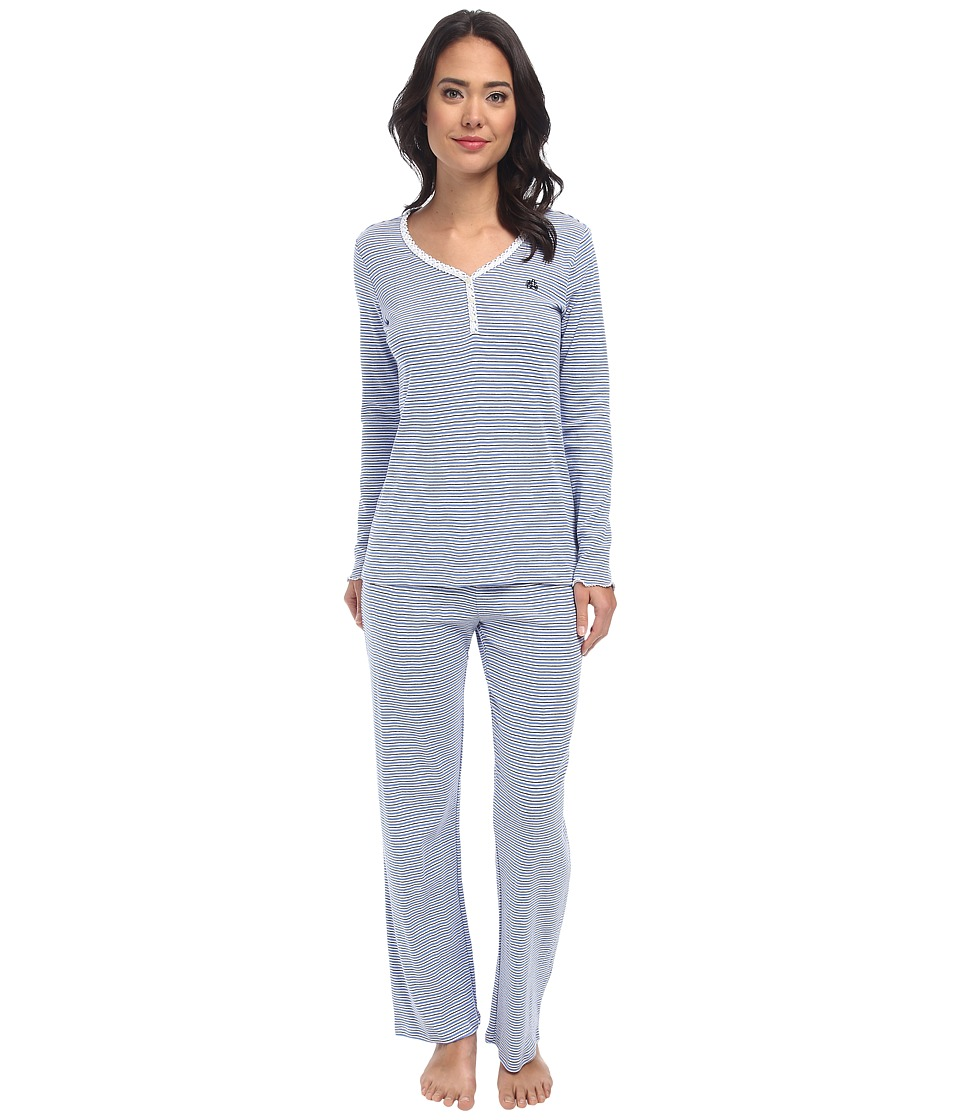 LAUREN by Ralph Lauren - Plaza Knits LS PJ Set (Plaza Stripe Derby Blue) Women's Pajama Sets
