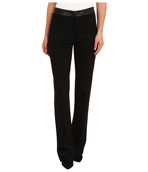 NYDJ - Ponte Trouser w/ Faux Leather Waistband (Black) Women