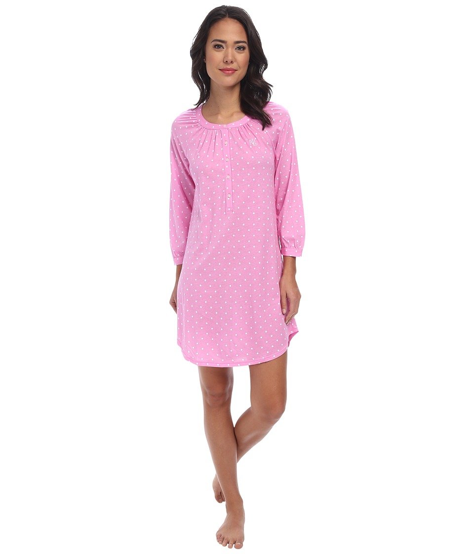 LAUREN by Ralph Lauren - Dot LS Sleepshirt (Metropolitan Dot Pink) Women