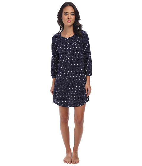 LAUREN by Ralph Lauren - Dot LS Sleepshirt (Metropolitan Dot Windsory Navy) Women
